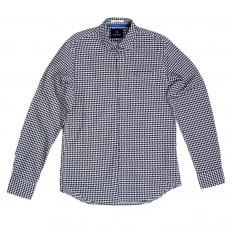 Mens Regular Fit Long Sleeve Black and White Semi Dogtooth Check Shirt for Men by Scotch and Soda