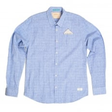 Mens Regular Fit Long Sleeve Prince of Wales Checked Blue Linen and Cotton Mix Shirt by Scotch and Soda