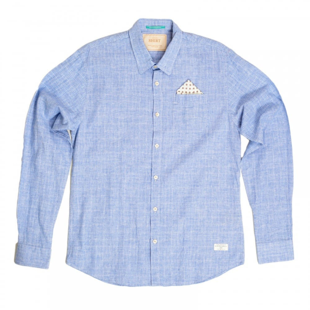 SCOTCH & SODA Mens Regular Fit Long Sleeve Prince of Wales Checked Blue Linen  and Cotton ...