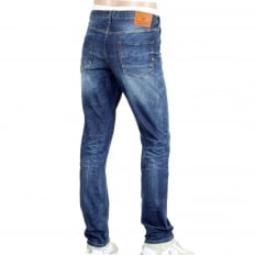 Mens Slim Fit Lower Rise Catch 22 Blue Stretch Denim Jeans with Zip Fly