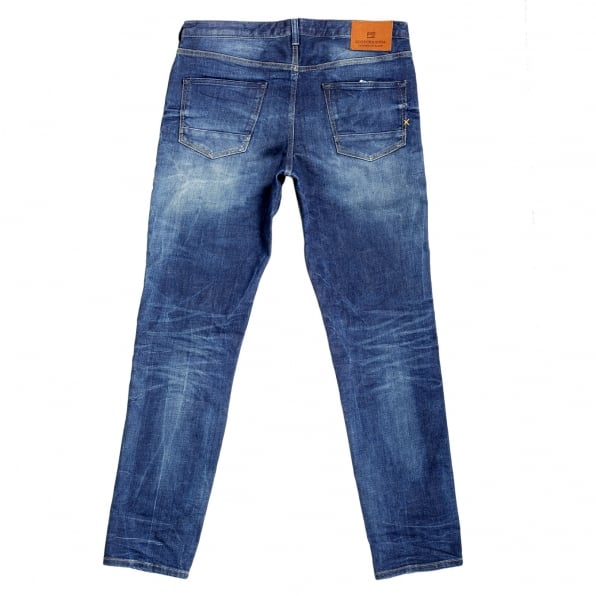 SCOTCH & SODA Mens Slim Fit Lower Rise Catch 22 Blue Stretch Denim Jeans with Zip Fly