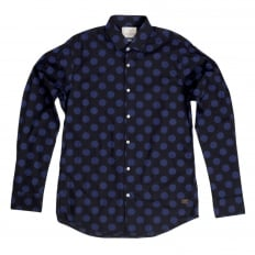 Mens Slim Fit Stretch Cotton 127079 Navy Shirt with Blue Jacquard Circles Print by Soctch and Soda