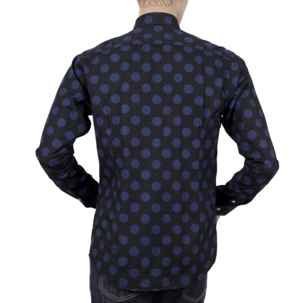 SCOTCH & SODA Mens Slim Fit Stretch Cotton 127079 Navy Shirt with Blue Jacquard Circles Print by Soctch and Soda