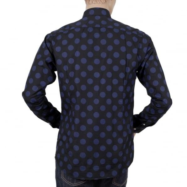 SCOTCH & SODA Mens Slim Fit Stretch Cotton 127079 Navy Shirt with Blue Jacquard Circles Print by Soctch and Soda
