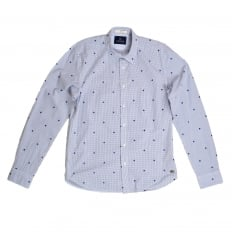 Mens Slim Fit White Cotton Shirt with Soft Collar, Blue Mini Check and Flock Spade Print by Scotch and Soda
