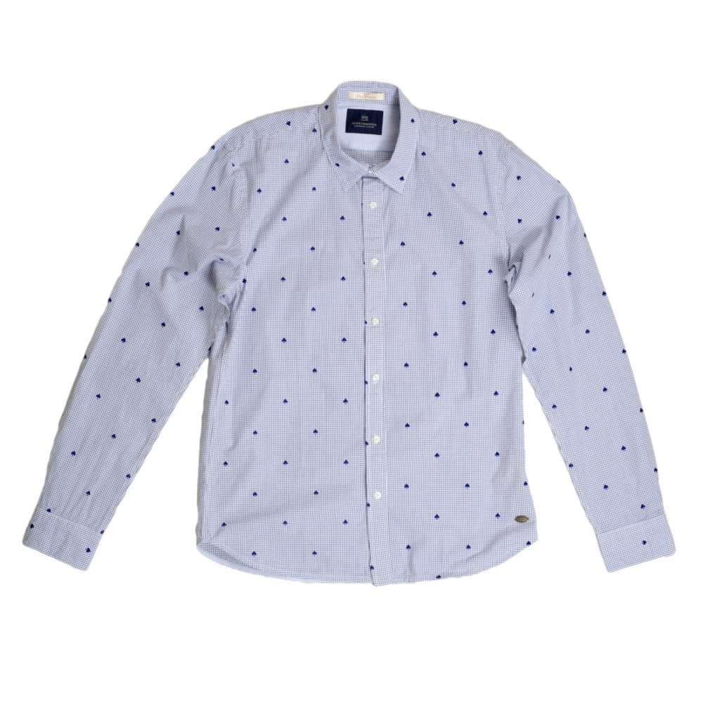 ... SCOTCH & SODA Mens Slim Fit White Cotton Shirt with Soft Collar, Blue  Mini Check ...