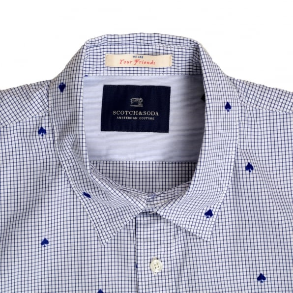 SCOTCH & SODA Mens Slim Fit White Cotton Shirt with Soft Collar, Blue Mini Check and Flock Spade Print by Scotch and Soda