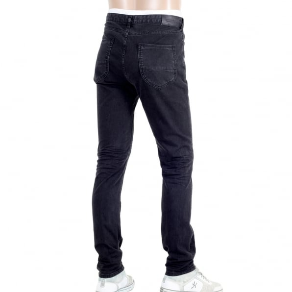 SCOTCH & SODA Mens Washed Stretch Black Skinny Fit Jeans with Zip Fly