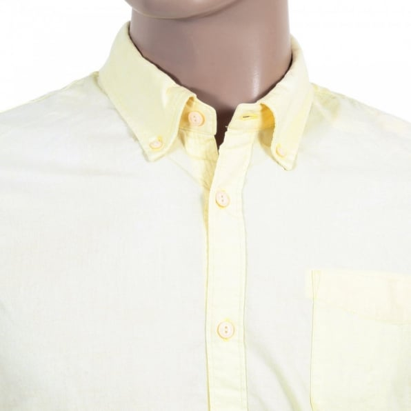 SCOTCH & SODA Mens Washed Yellow Cotton Button down Collar Long Sleeve Shirt
