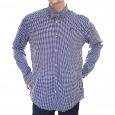 Navy and White Small Check Cotton Long Sleeve Regular Fit Shirt with Detachable Bow Tie