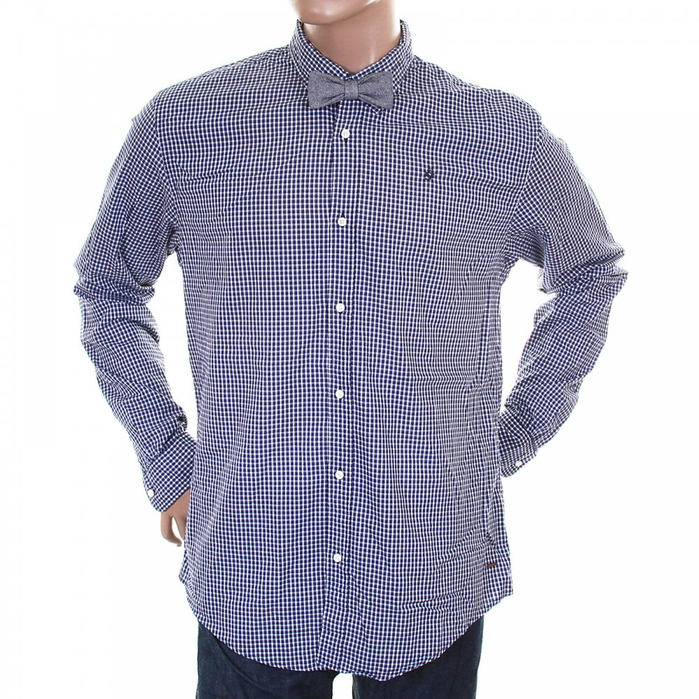 ... SCOTCH & SODA Navy and White Small Check Cotton Long Sleeve Regular Fit  Shirt with Detachable ...
