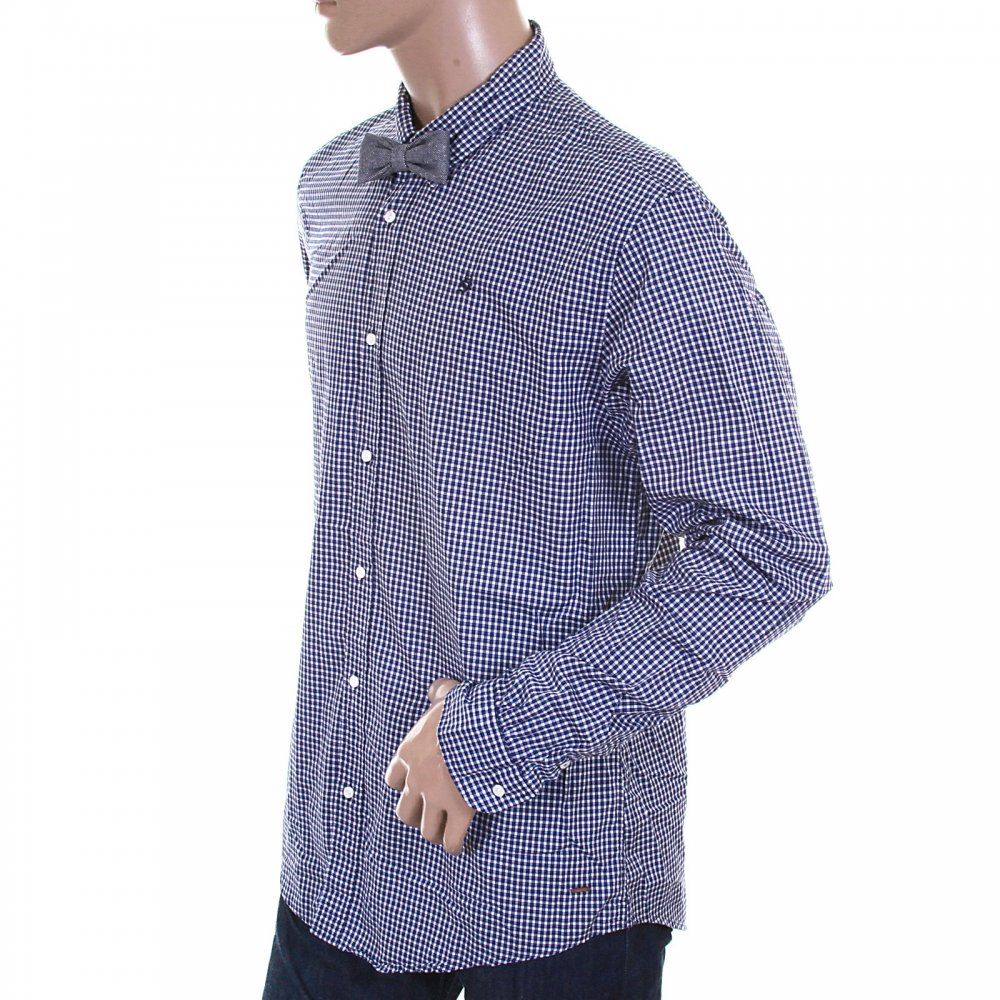 SCOTCH & SODA Navy and White Small Check Cotton Long Sleeve Regular Fit  Shirt with Detachable ...