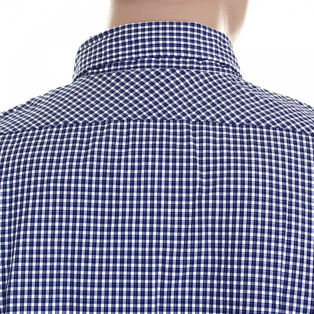 0dba5c78 ... SCOTCH & SODA Navy and White Small Check Cotton Long Sleeve Regular Fit  Shirt with Detachable ...