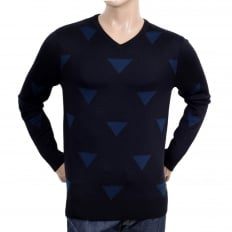 Navy Blue Wool Mix V Neck Knitted Jumper with Diamond Pattern and Ribbed Collar, Sleeve Cuffs and Waistband