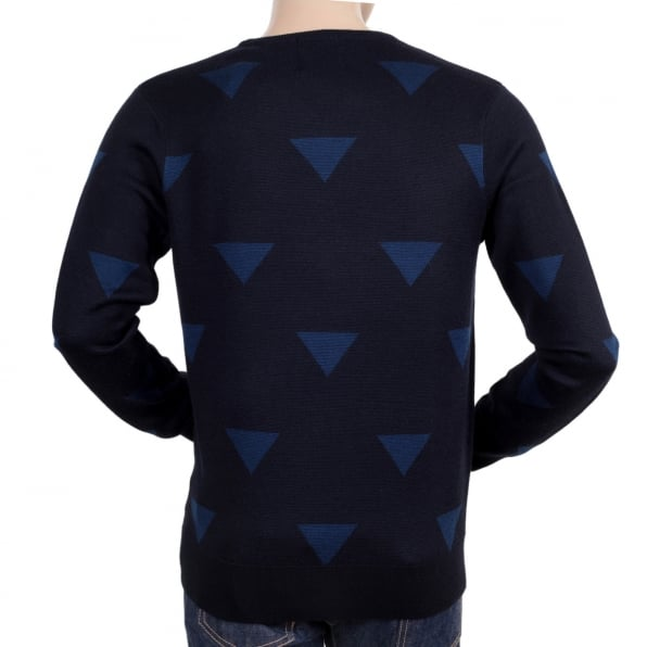 SCOTCH & SODA Navy Blue Wool Mix V Neck Knitted Jumper with Diamond Pattern and Ribbed Collar, Sleeve Cuffs and Waistband