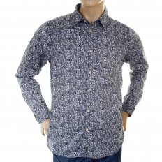 Navy cotton with white floral jacquard print long sleeve regular fit shirt