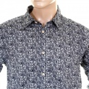 SCOTCH & SODA Navy cotton with white floral jacquard print long sleeve regular fit shirt
