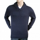 SCOTCH & SODA Navy Lambswool Mix Shawl Collar Regular Fit Jumper
