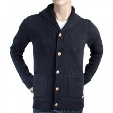 Navy Recycled Denim Knitted Cotton Mix Regular Fit Cardigan