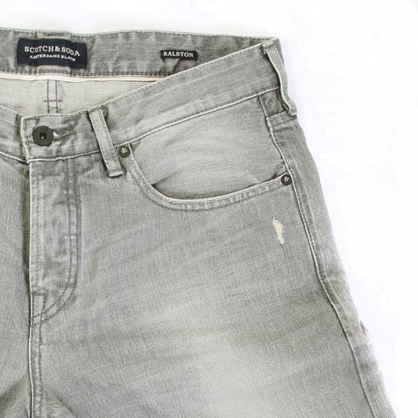 SCOTCH & SODA Ralston Grey Washed Slim Fit Worn Finish Denim Jeans