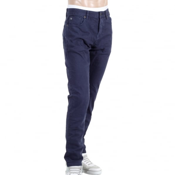 SCOTCH & SODA Ralston Regular Slim Fit Navy Jeans with Three Individual Coloured Fly Buttons