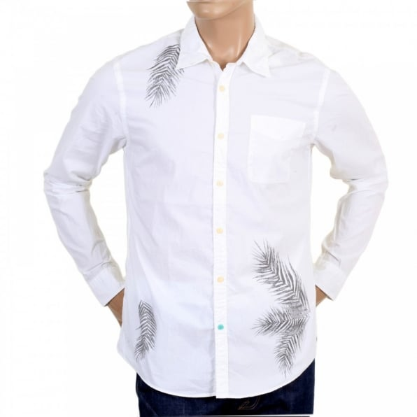SCOTCH & SODA Regular Fit Cotton Mens Long Sleeve Shirt in White