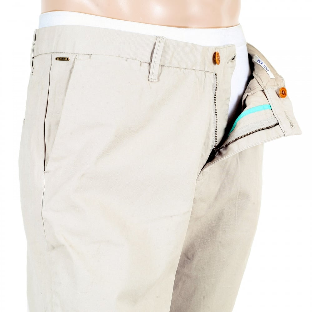 Buy Mens Slim Fit Chinos In Stone From Scotch And Soda