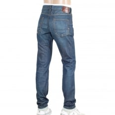 Regular Slim Fit Washed Blue Ralston Denim Jeans with Frayed Worn Patches
