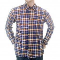 Sand and Blue Check Cotton Long Sleeve Oxford Shirt