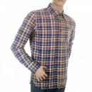 SCOTCH & SODA Sand and Blue Check Cotton Long Sleeve Oxford Shirt
