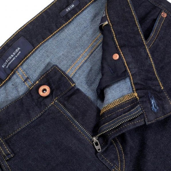 SCOTCH & SODA Skim 135093 Stretch Skinny Jeans in Dark Indigo for Men with Baked Crease Effect at Knees
