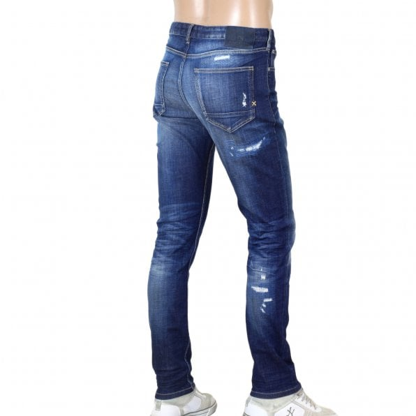 SCOTCH & SODA Skim Royal Bliss 138802 Skinny Fit Stretch Denim Jeans with Rip and Repair Patches