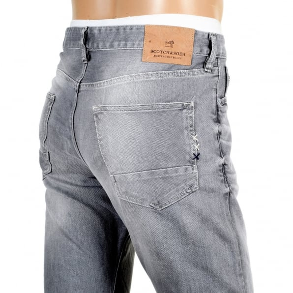 SCOTCH & SODA Slim Fit Light Grey Ralston Stretch Jeans with Fading Throughout