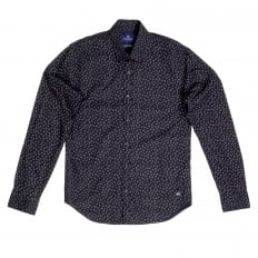 Slim Fit Long Sleeve Shirt in Black with White Jacquard Printed Circles and Soft Collar by Scotch and Soda
