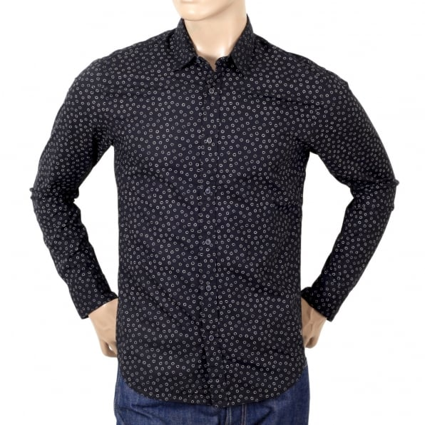 SCOTCH & SODA Slim Fit Long Sleeve Shirt in Black with White Jacquard Printed Circles and Soft Collar by Scotch and Soda