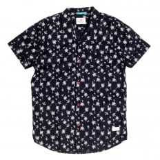 Slim fit Short Sleeve Cotton Made Hawaiian Print Shirt in Black with Cuban Collar by Scotch and Soda