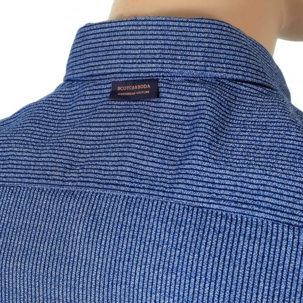 SCOTCH & SODA Slim Fit Woven Soft Cotton Long Sleeve Striped Blue Shirt for Men with Soft Collar by Scotch and Soda