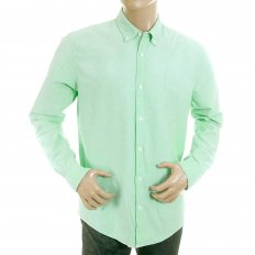 Sun Faded Pastel Green Cotton Long Sleeve Regular Fit Oxford Shirt