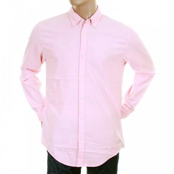SCOTCH & SODA Sun Faded Pastel Pink Cotton Long Sleeve Regular Fit Oxford Shirt