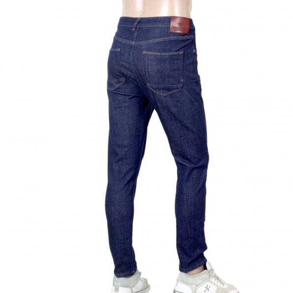 SCOTCH & SODA Super Skinny Fit 135084 Dart Washed Blue Denim Jeans for Men with Slight Creasing