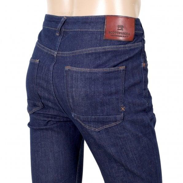 SCOTCH & SODA Super Skinny Fit 135084 Dart Washed Blue Denim Jeans for Men with Slight Creasing