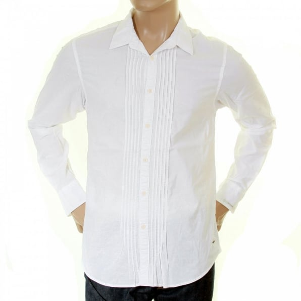 SCOTCH & SODA White Cotton Soft Collar Long Sleeve Regular Fit Pleated Tux Style Shirt