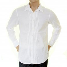White Cotton Soft Collar Long Sleeve Regular Fit Pleated Tux Style Shirt