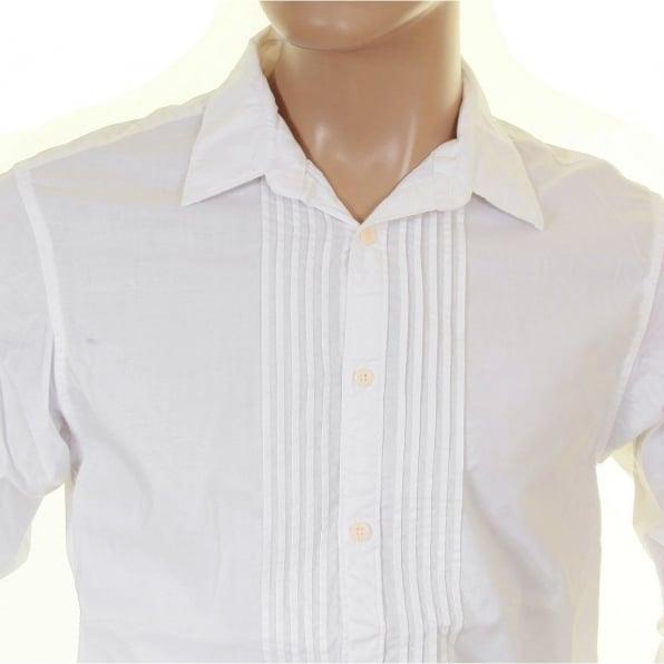 SCOTCH & SODA White Cotton Soft Collar Long Sleeve Regular Fit Pleated Tux Style Shirt