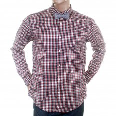 Wine Black and White Small Check Cotton Long Sleeve Regular Fit Shirt with Detachable Bow Tie