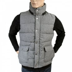 Zipped Grey Blue Marl Regular Fit Padded Gilet