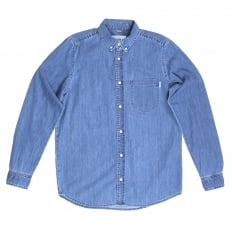 Slim Fit Long Sleeve Blue Denim Civil Shirt with Single Chest Pocket and Soft Button Down Collar by Carhartt