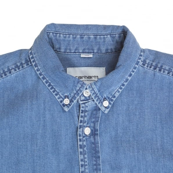 CARHARTT Slim Fit Long Sleeve Blue Denim Civil Shirt with Single Chest Pocket and Soft Button Down Collar by Carhartt