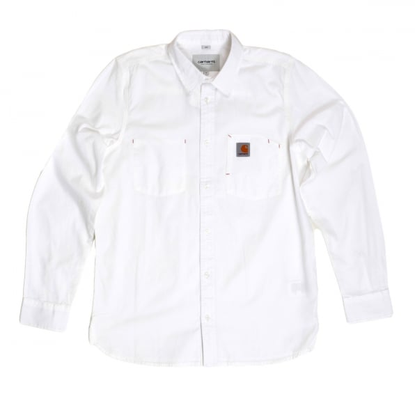 CARHARTT Slim Fit Long Sleeve Wax Rinsed White States Cotton Shirt with Soft Collar and Red Stitch Trims by Carhartt