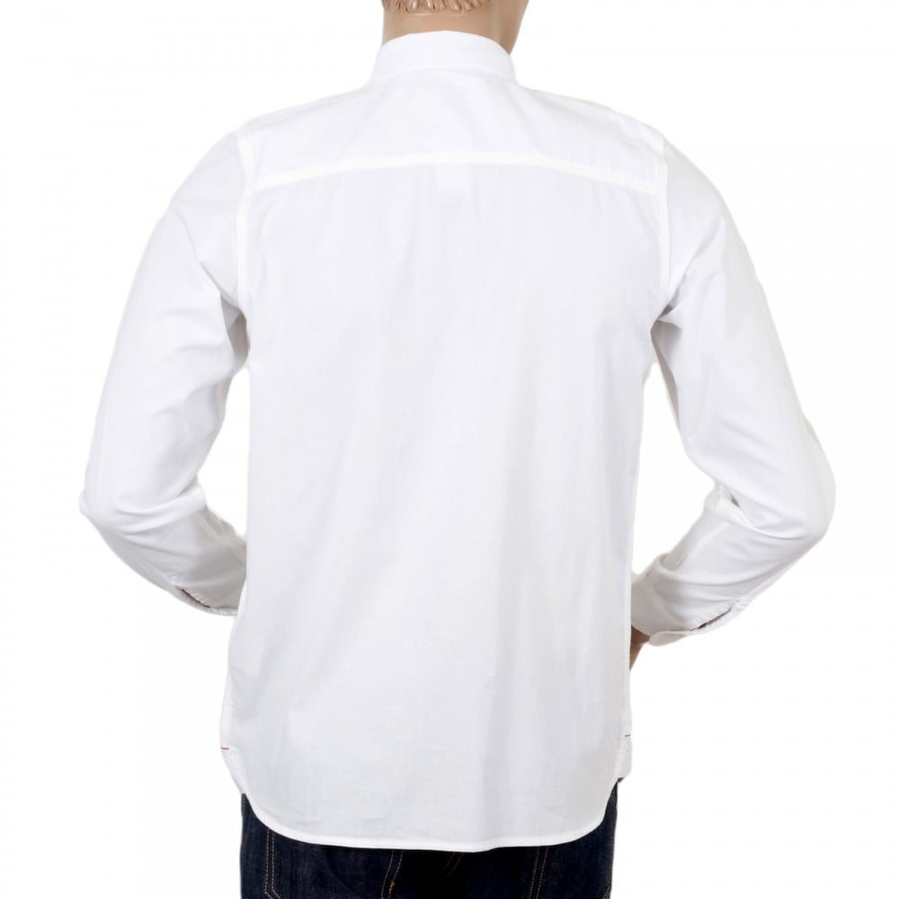 869acdf742 CARHARTT Slim Fit Long Sleeve Wax Rinsed White States Cotton Shirt with  Soft Collar and Red ...
